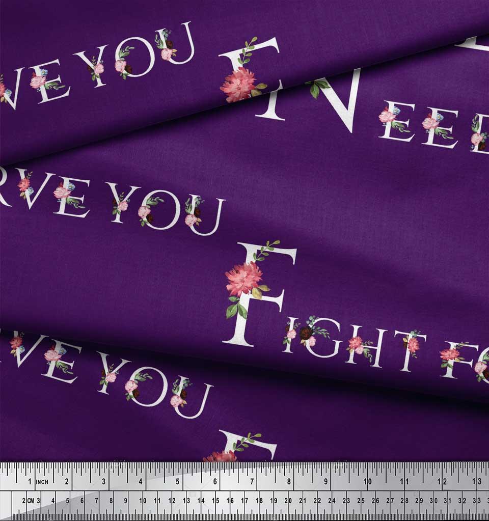Soimoi-Purple-Cotton-Poplin-Fabric-Floral-Quotes-Text-Printed-Fabric-KAv thumbnail 3