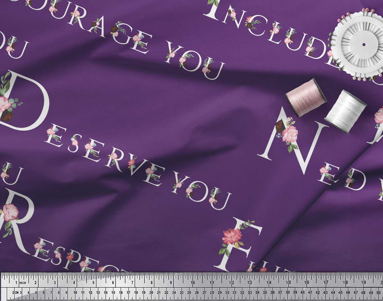 Soimoi-Purple-Cotton-Poplin-Fabric-Floral-Quotes-Text-Printed-Fabric-KAv thumbnail 4