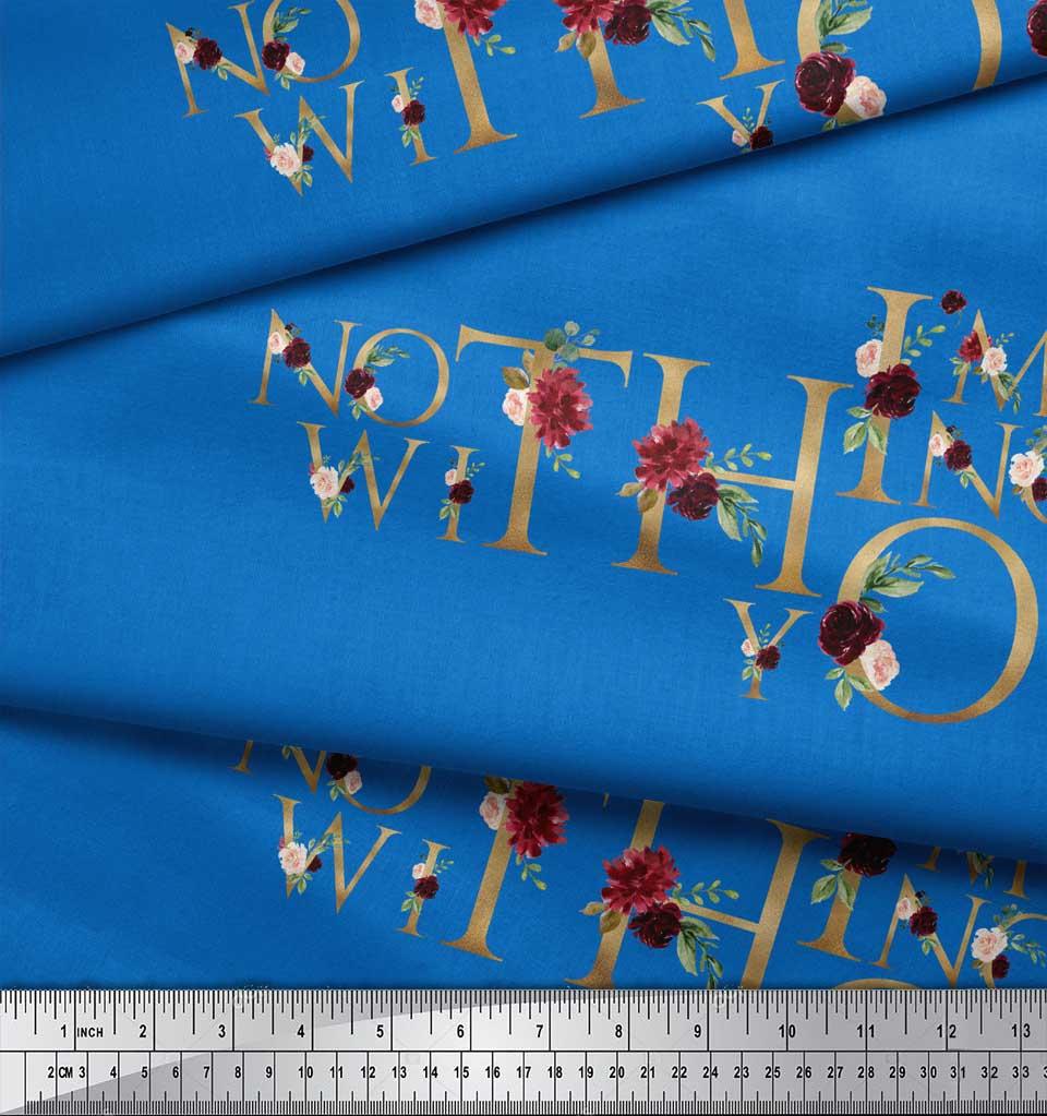 Soimoi-Blue-Cotton-Poplin-Fabric-Floral-Love-Quotes-Text-Printed-4V2 thumbnail 4