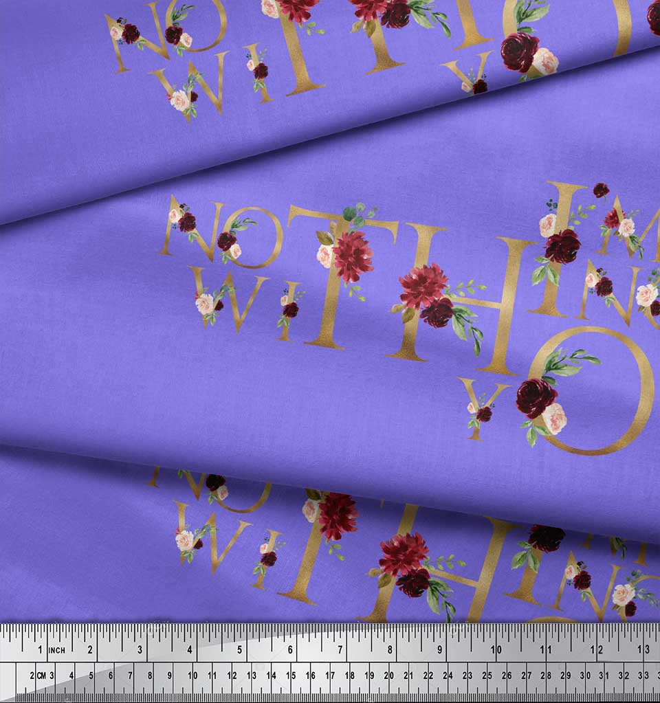 Soimoi-Purple-Cotton-Poplin-Fabric-Floral-Love-Quotes-Text-Print-4eB thumbnail 4