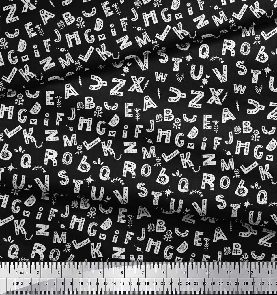 Soimoi-Black-Cotton-Poplin-Fabric-Alphabet-Text-Printed-Fabric-1-4YR thumbnail 4
