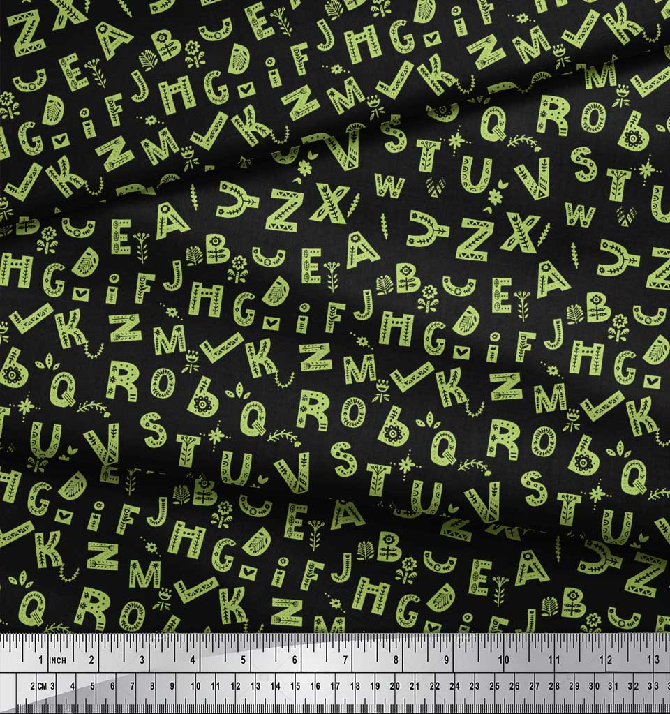 Soimoi-Green-Cotton-Poplin-Fabric-Alphabet-Text-Print-Fabric-by-3mX thumbnail 4
