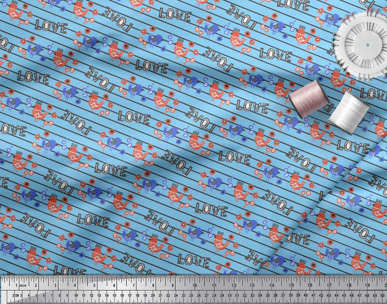 Soimoi-Blue-Cotton-Poplin-Fabric-Stripe-amp-Love-Text-Print-Fabric-9Sp thumbnail 4