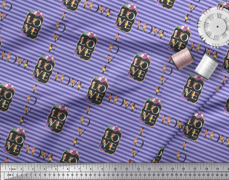 Soimoi-Purple-Cotton-Poplin-Fabric-Stripe-amp-Floral-Alphabet-Text-t5H thumbnail 3