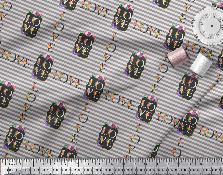Soimoi-Gray-Cotton-Poplin-Fabric-Stripe-amp-Floral-Alphabet-Text-Printed-1by thumbnail 3
