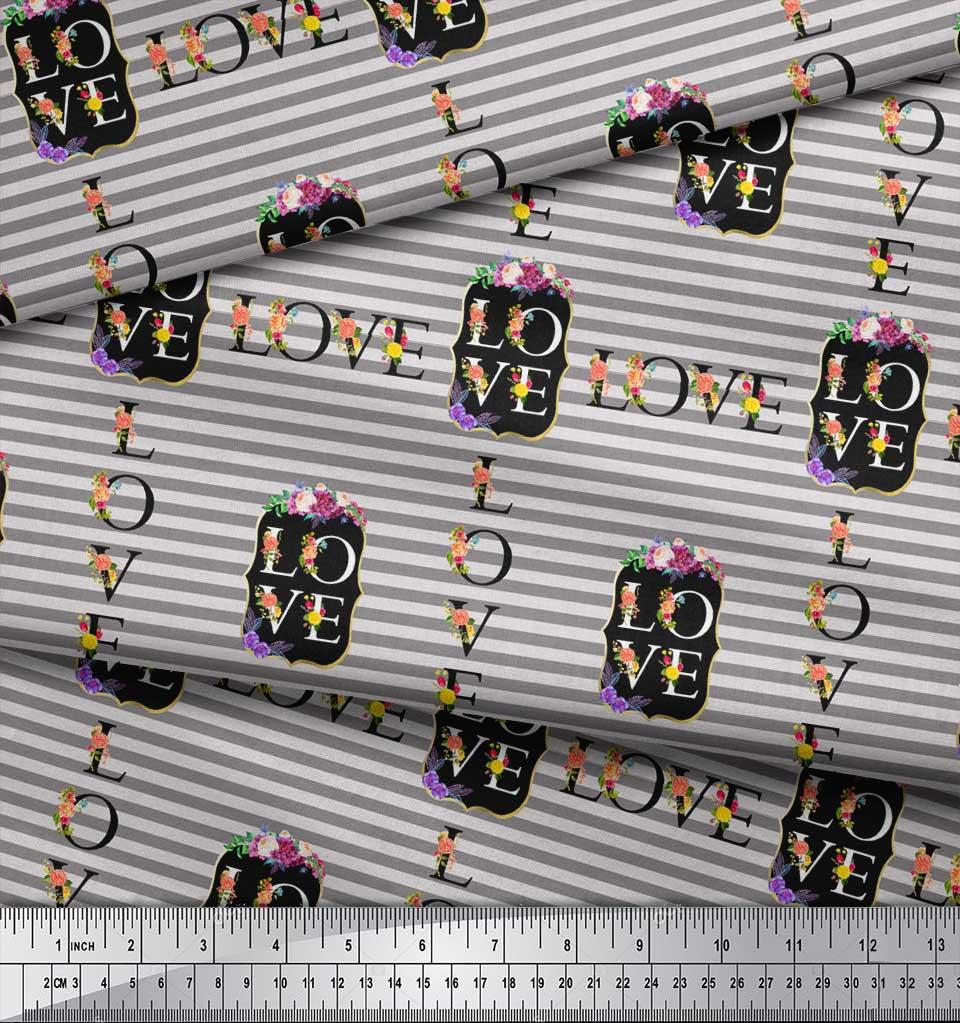 Soimoi-Gray-Cotton-Poplin-Fabric-Stripe-amp-Floral-Alphabet-Text-Printed-1by thumbnail 4