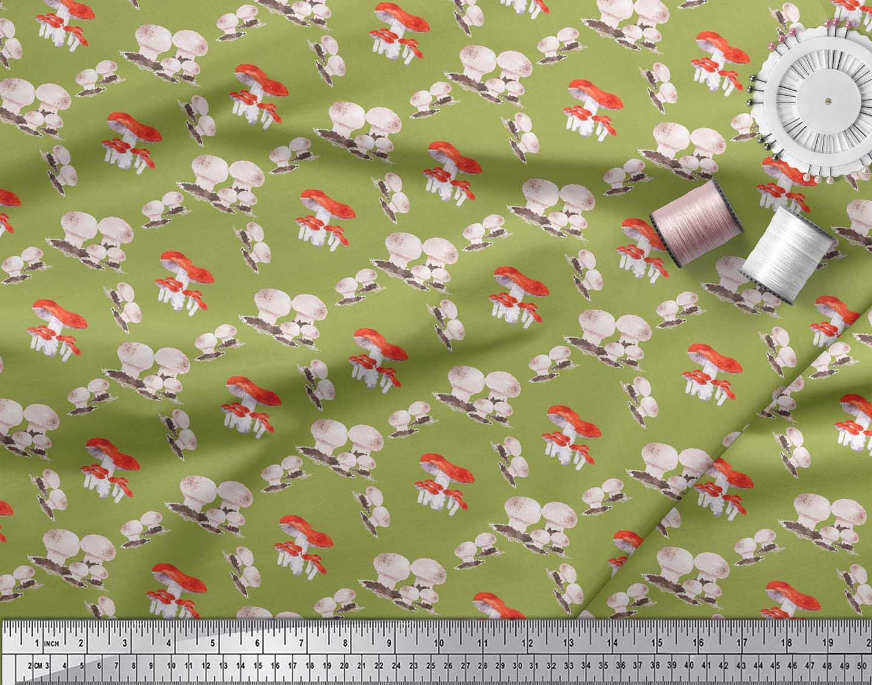 Soimoi-Green-Cotton-Poplin-Fabric-Mushroom-Vegetable-Print-Fabric-tdw thumbnail 3