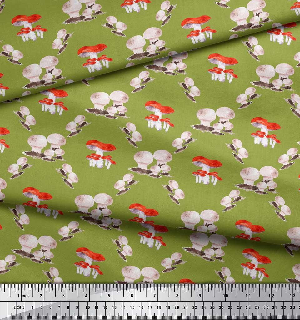 Soimoi-Green-Cotton-Poplin-Fabric-Mushroom-Vegetable-Print-Fabric-tdw thumbnail 4