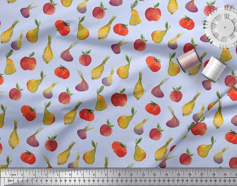 Soimoi-Blue-Cotton-Poplin-Fabric-Fruits-amp-Vegetable-Decor-Fabric-hjg thumbnail 3