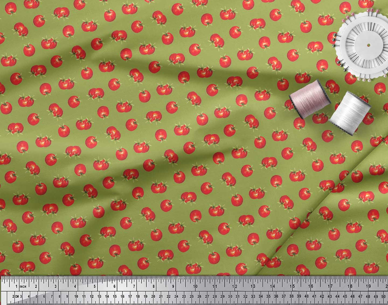 Soimoi-Green-Cotton-Poplin-Fabric-Tomato-Vegetable-Print-Fabric-ZuY thumbnail 3