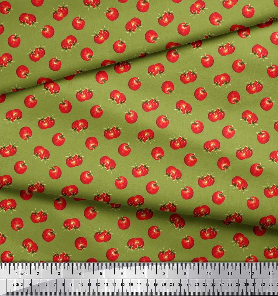 Soimoi-Green-Cotton-Poplin-Fabric-Tomato-Vegetable-Print-Fabric-ZuY thumbnail 4