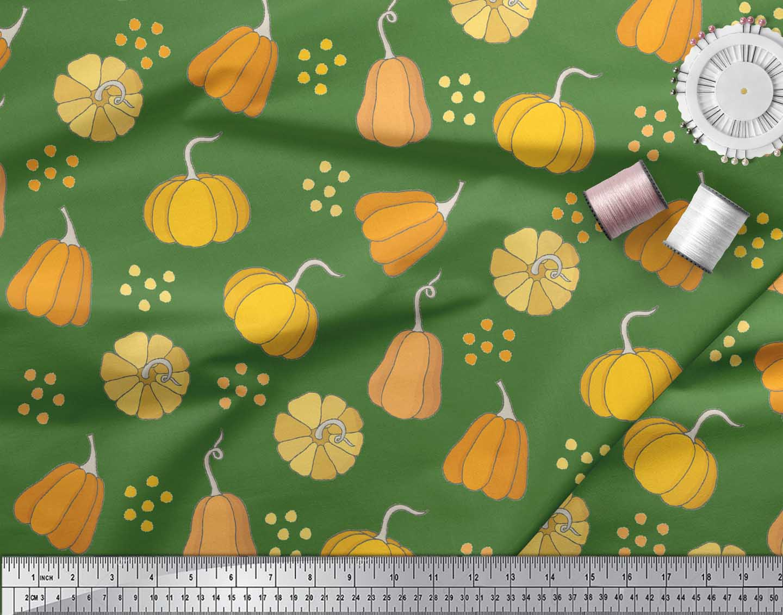 Soimoi-Green-Cotton-Poplin-Fabric-Pumpkin-Vegetable-Decor-Fabric-Slk thumbnail 3