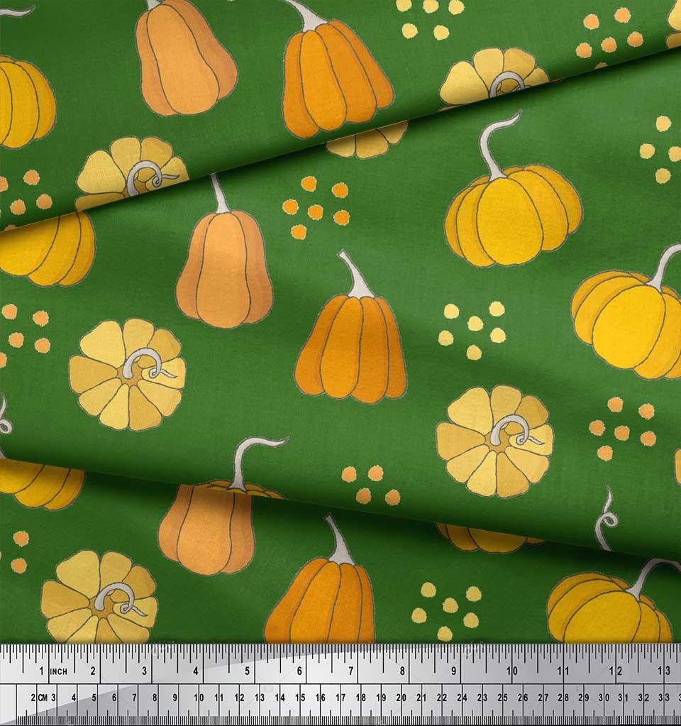 Soimoi-Green-Cotton-Poplin-Fabric-Pumpkin-Vegetable-Decor-Fabric-Slk thumbnail 4