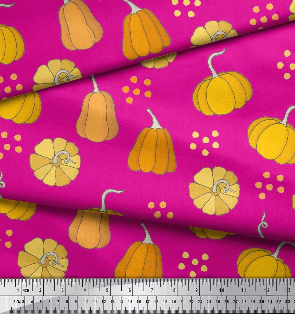 Soimoi-Pink-Cotton-Poplin-Fabric-Pumpkin-Vegetable-Decor-Fabric-Opq thumbnail 3