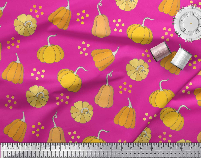 Soimoi-Pink-Cotton-Poplin-Fabric-Pumpkin-Vegetable-Decor-Fabric-Opq thumbnail 4