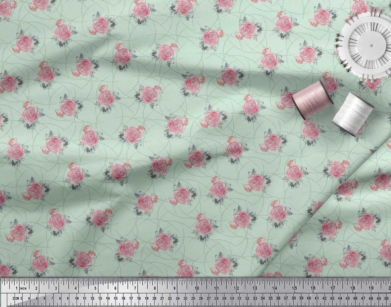 Soimoi-Green-Cotton-Poplin-Fabric-Peach-Rose-Watercolor-Decor-Fabric-v3t thumbnail 3