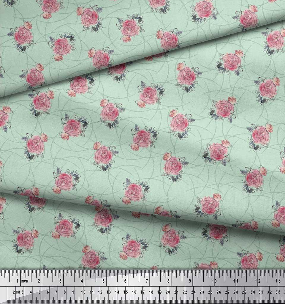 Soimoi-Green-Cotton-Poplin-Fabric-Peach-Rose-Watercolor-Decor-Fabric-v3t thumbnail 4
