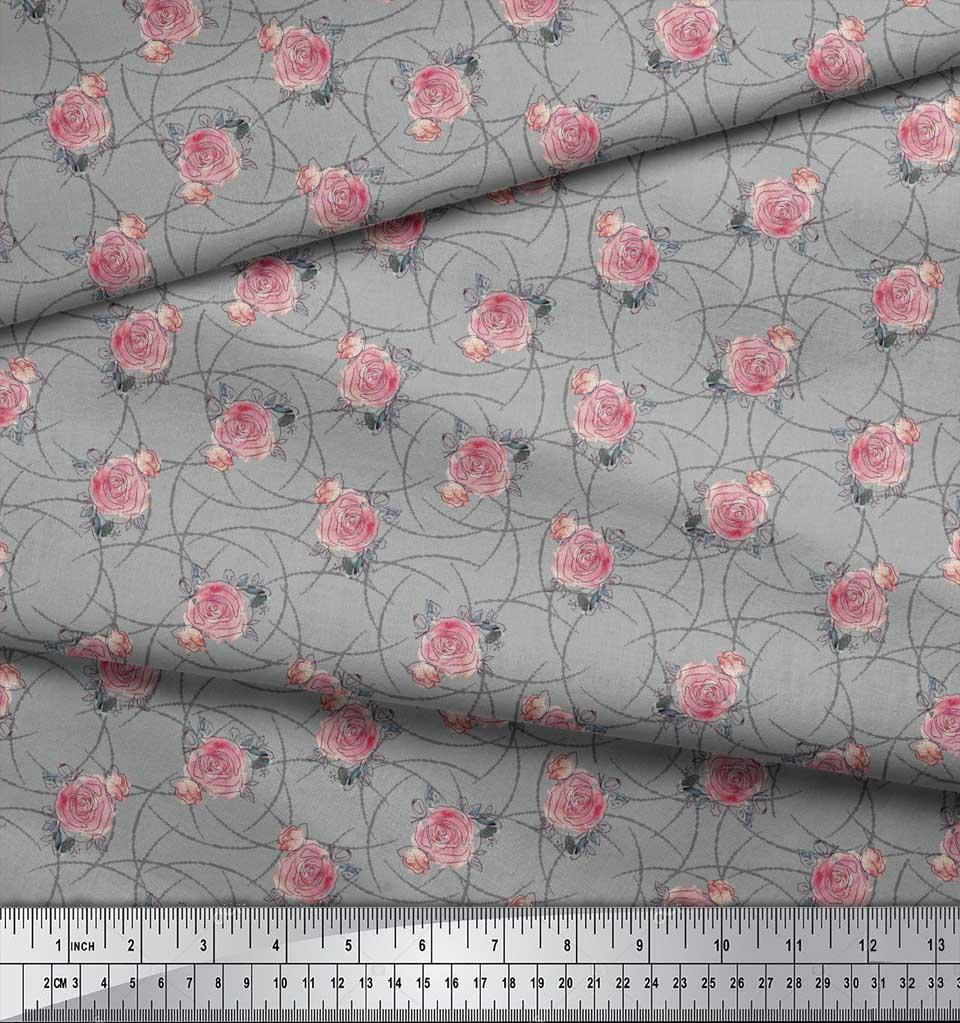 Soimoi-Gray-Cotton-Poplin-Fabric-Peach-Rose-Watercolor-Print-Fabric-6ma thumbnail 3