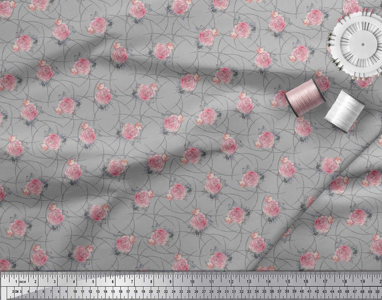 Soimoi-Gray-Cotton-Poplin-Fabric-Peach-Rose-Watercolor-Print-Fabric-6ma thumbnail 4