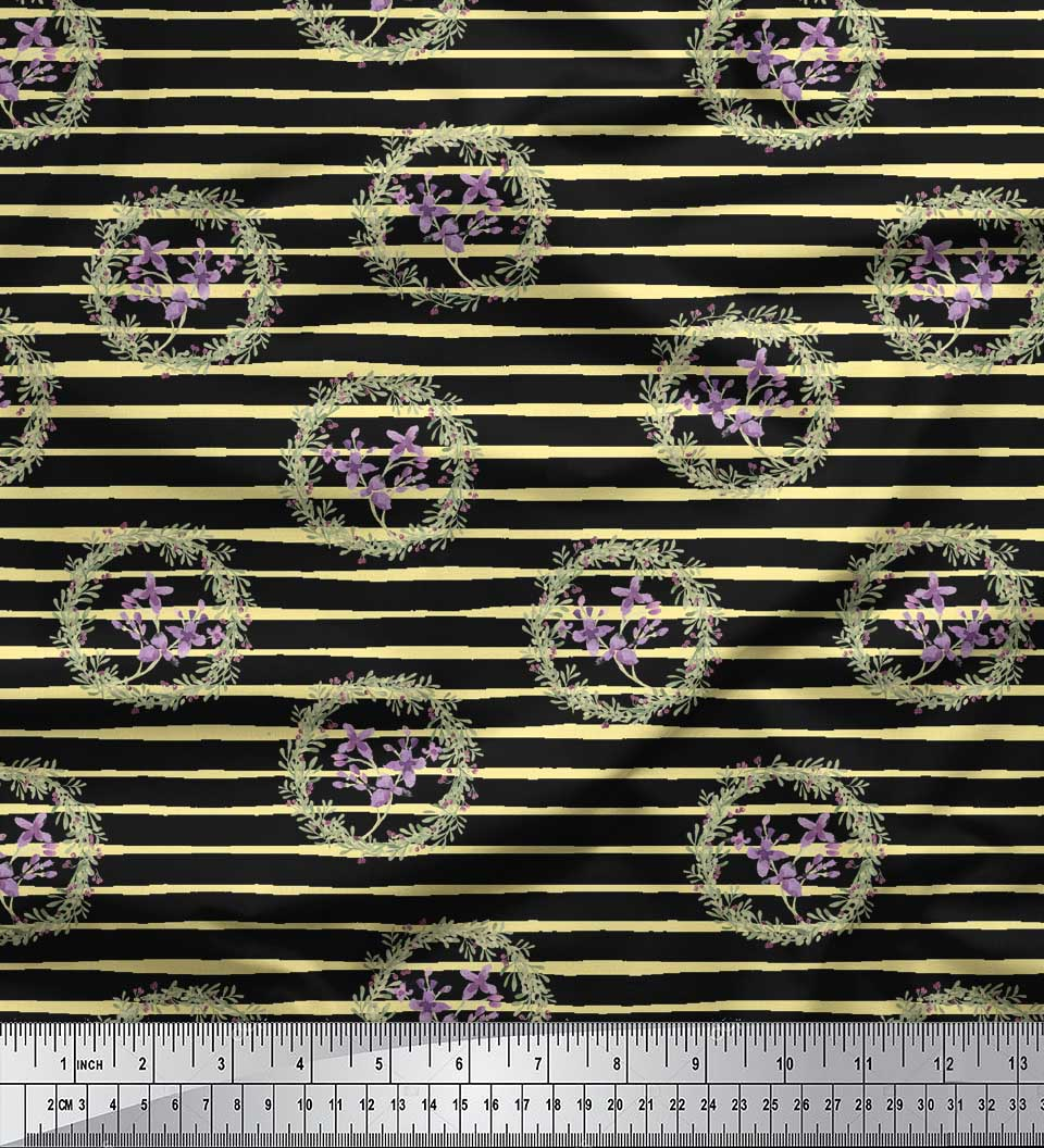 Soimoi-Black-Cotton-Poplin-Fabric-Floral-Wreath-Watercolor-Print-TrI thumbnail 2