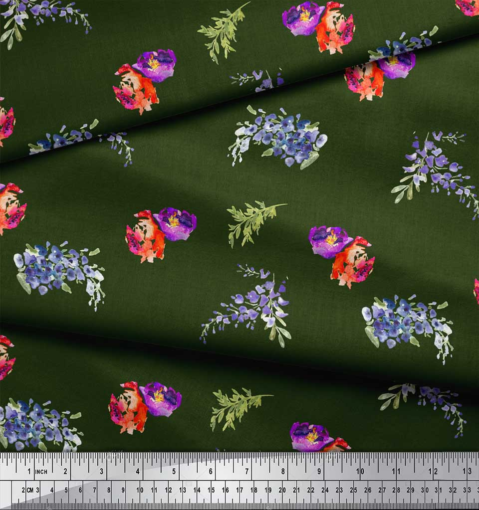 Soimoi-Green-Cotton-Poplin-Fabric-Flower-amp-Leaves-Watercolor-Print-VNa thumbnail 3