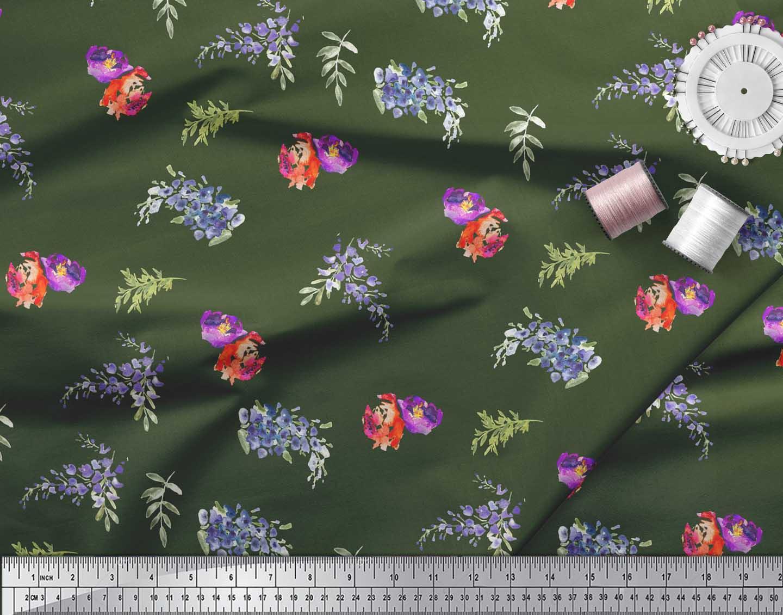 Soimoi-Green-Cotton-Poplin-Fabric-Flower-amp-Leaves-Watercolor-Print-VNa thumbnail 4