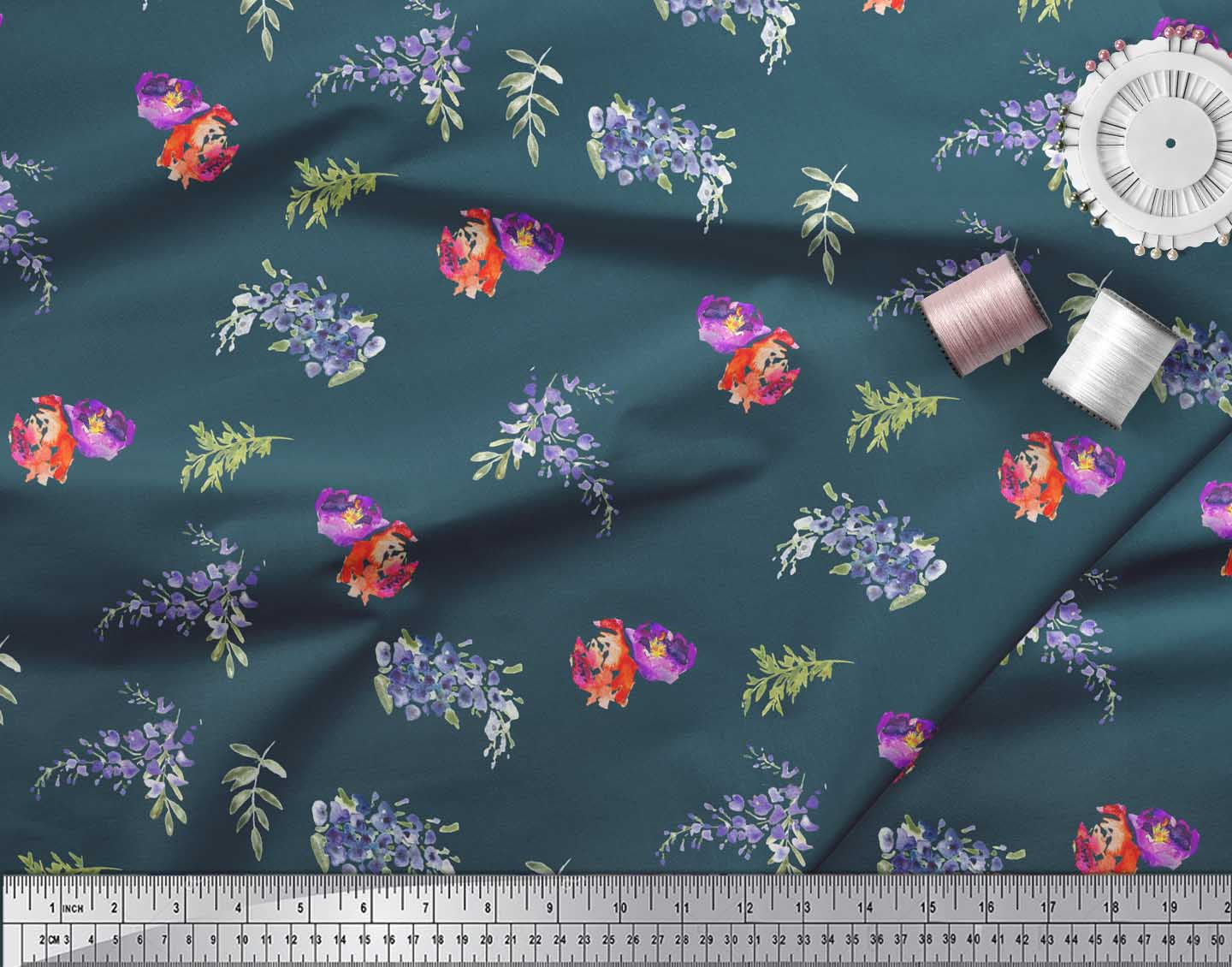 Soimoi-Blue-Cotton-Poplin-Fabric-Flower-amp-Leaves-Watercolor-Fabric-WHu thumbnail 3