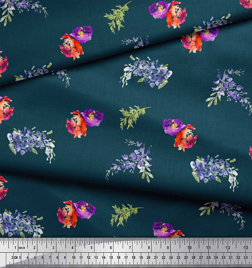 Soimoi-Blue-Cotton-Poplin-Fabric-Flower-amp-Leaves-Watercolor-Fabric-WHu thumbnail 4