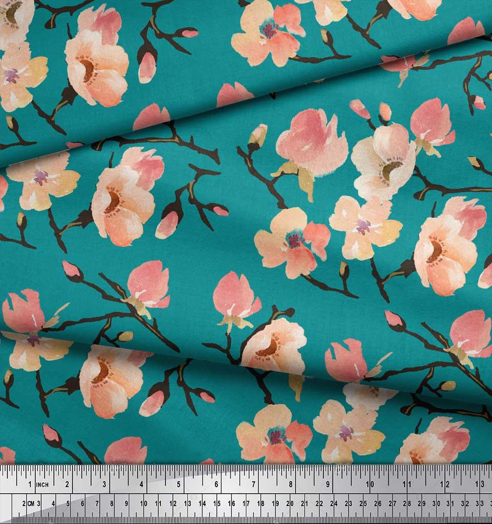 Soimoi-Green-Cotton-Poplin-Fabric-Peach-Flower-Watercolor-Decor-Iv0 thumbnail 3