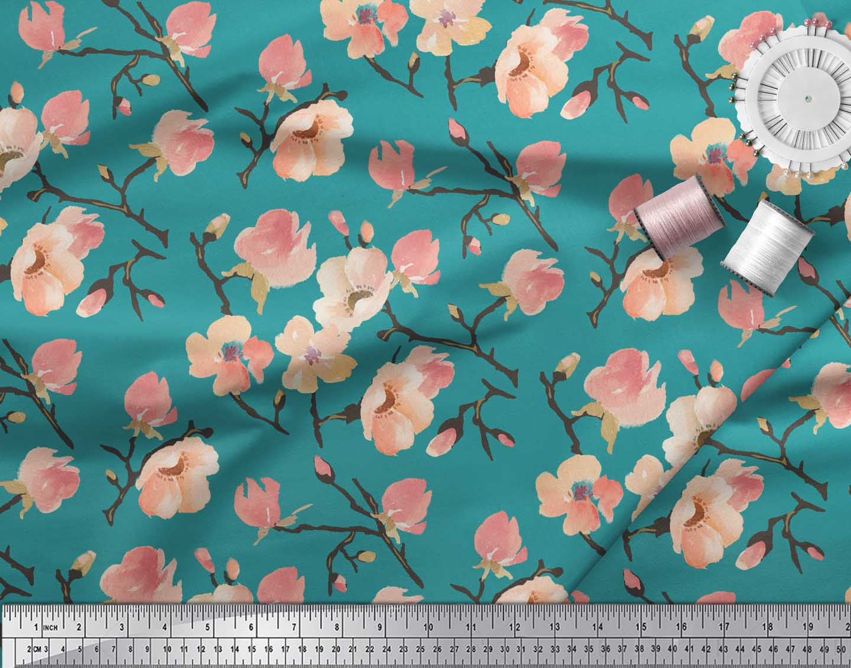 Soimoi-Green-Cotton-Poplin-Fabric-Peach-Flower-Watercolor-Decor-Iv0 thumbnail 4