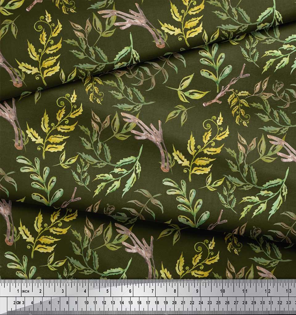 Soimoi-Green-Cotton-Poplin-Fabric-Neem-Watercolor-Printed-Craft-cZh thumbnail 3
