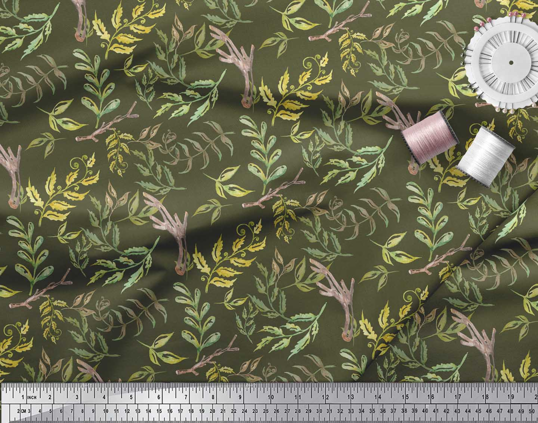Soimoi-Green-Cotton-Poplin-Fabric-Neem-Watercolor-Printed-Craft-cZh thumbnail 4