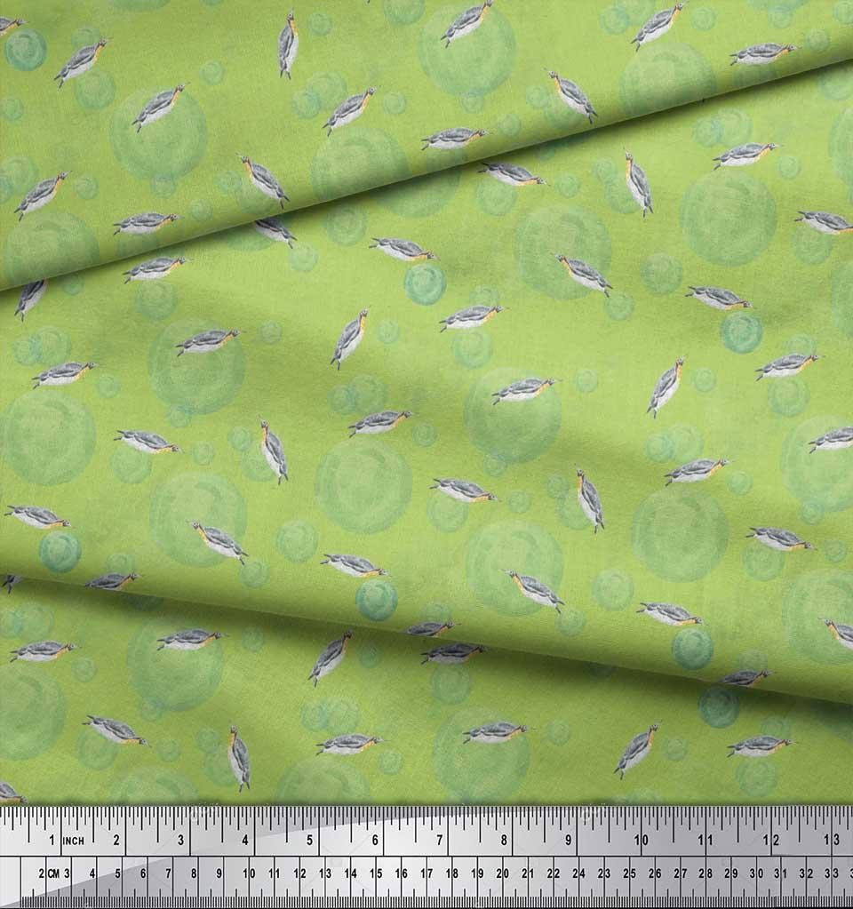 Soimoi-Green-Cotton-Poplin-Fabric-Bubbles-amp-Penguin-Watercolor-Print-FV6 thumbnail 4