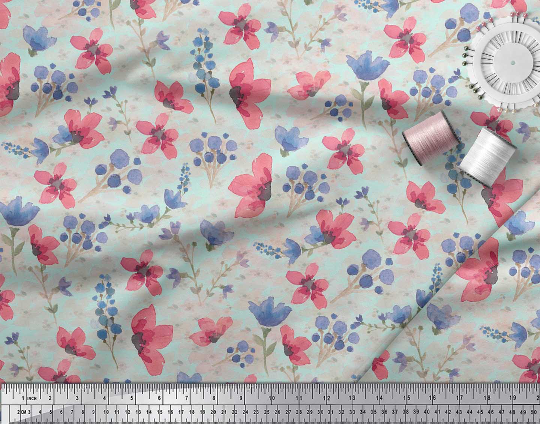 Soimoi-Green-Cotton-Poplin-Fabric-Flower-amp-Leaves-Watercolor-Fabric-das thumbnail 3