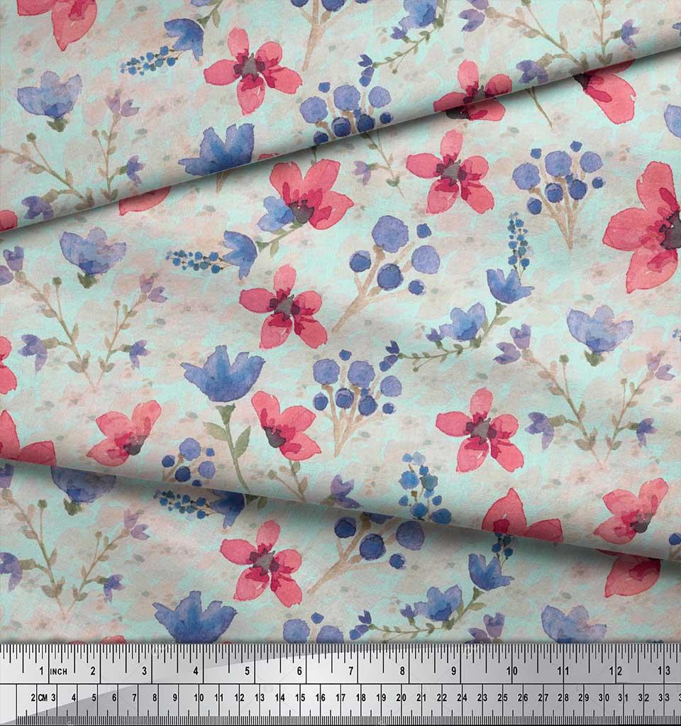 Soimoi-Green-Cotton-Poplin-Fabric-Flower-amp-Leaves-Watercolor-Fabric-das thumbnail 4
