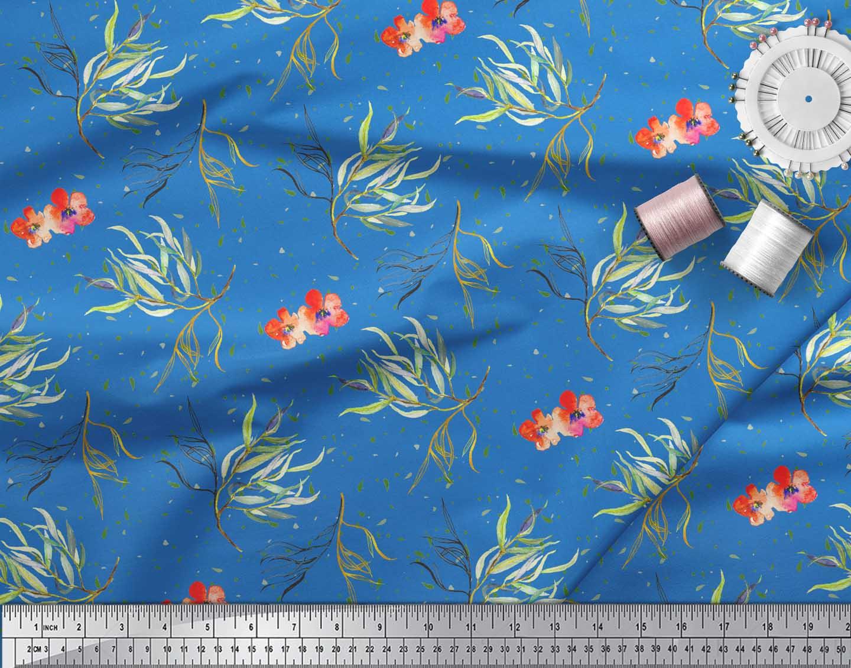 Soimoi-Blue-Cotton-Poplin-Fabric-Flower-amp-Leaves-Watercolor-Printed-V5o thumbnail 3