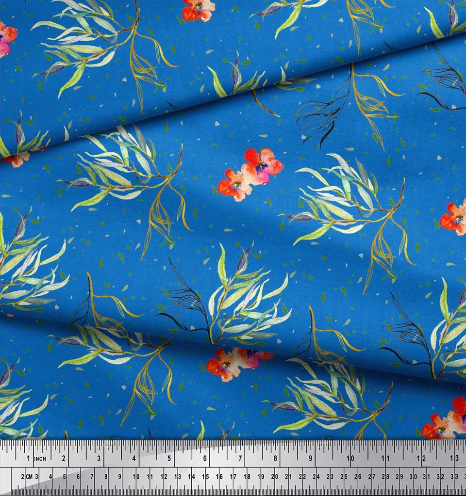 Soimoi-Blue-Cotton-Poplin-Fabric-Flower-amp-Leaves-Watercolor-Printed-V5o thumbnail 4