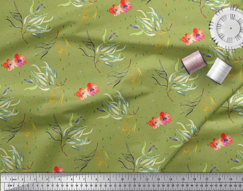 Soimoi-Green-Cotton-Poplin-Fabric-Flower-amp-Leaves-Watercolor-Fabric-cFn thumbnail 3