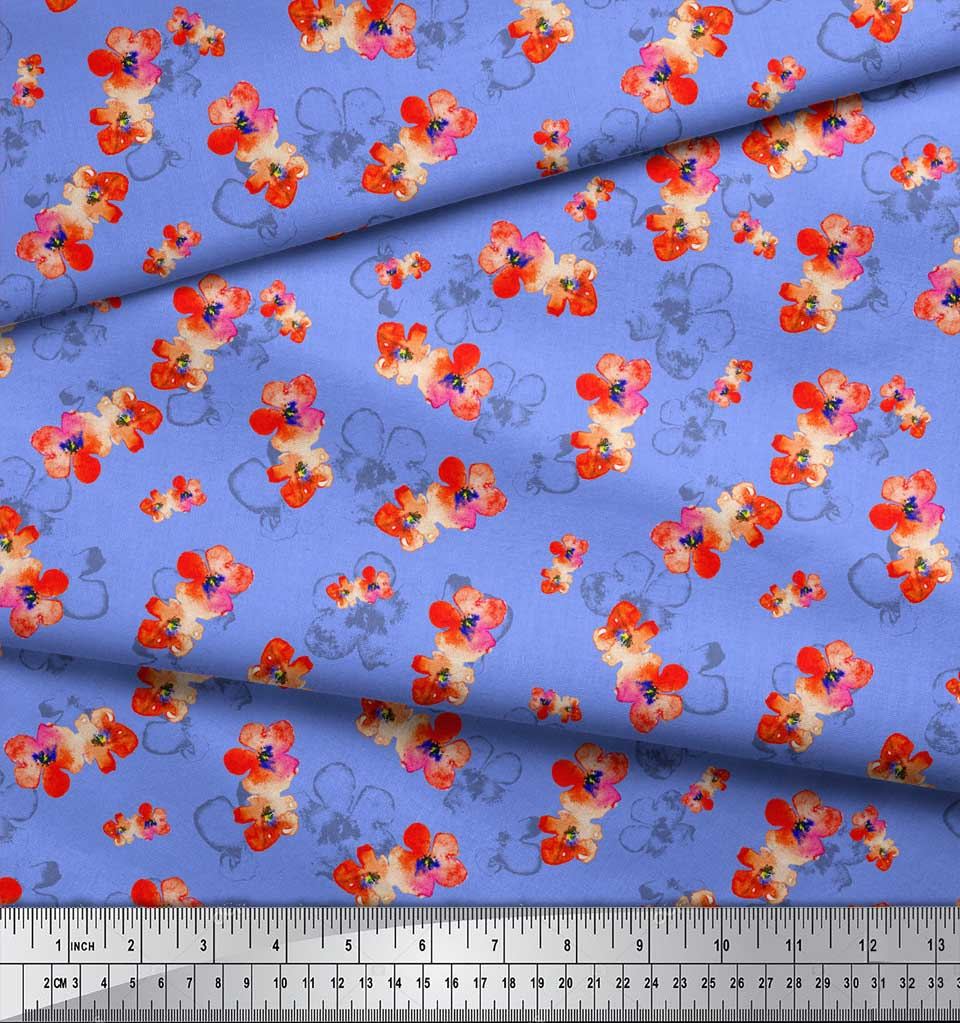 Soimoi-Blue-Cotton-Poplin-Fabric-Flower-Watercolor-Print-Fabric-b7C thumbnail 3