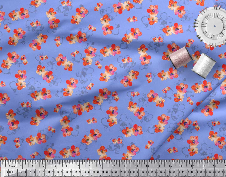 Soimoi-Blue-Cotton-Poplin-Fabric-Flower-Watercolor-Print-Fabric-b7C thumbnail 4
