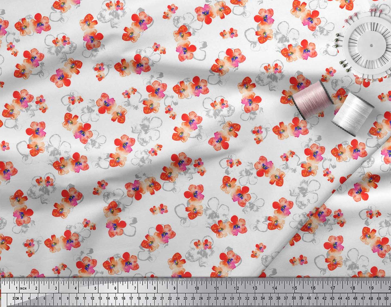 Soimoi-White-Cotton-Poplin-Fabric-Flower-Watercolor-Print-Fabric-cJL thumbnail 3