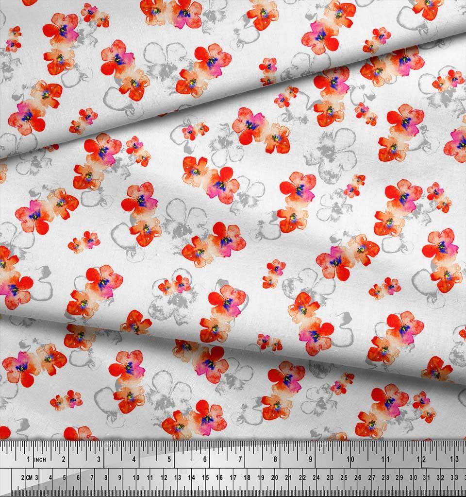 Soimoi-White-Cotton-Poplin-Fabric-Flower-Watercolor-Print-Fabric-cJL thumbnail 4
