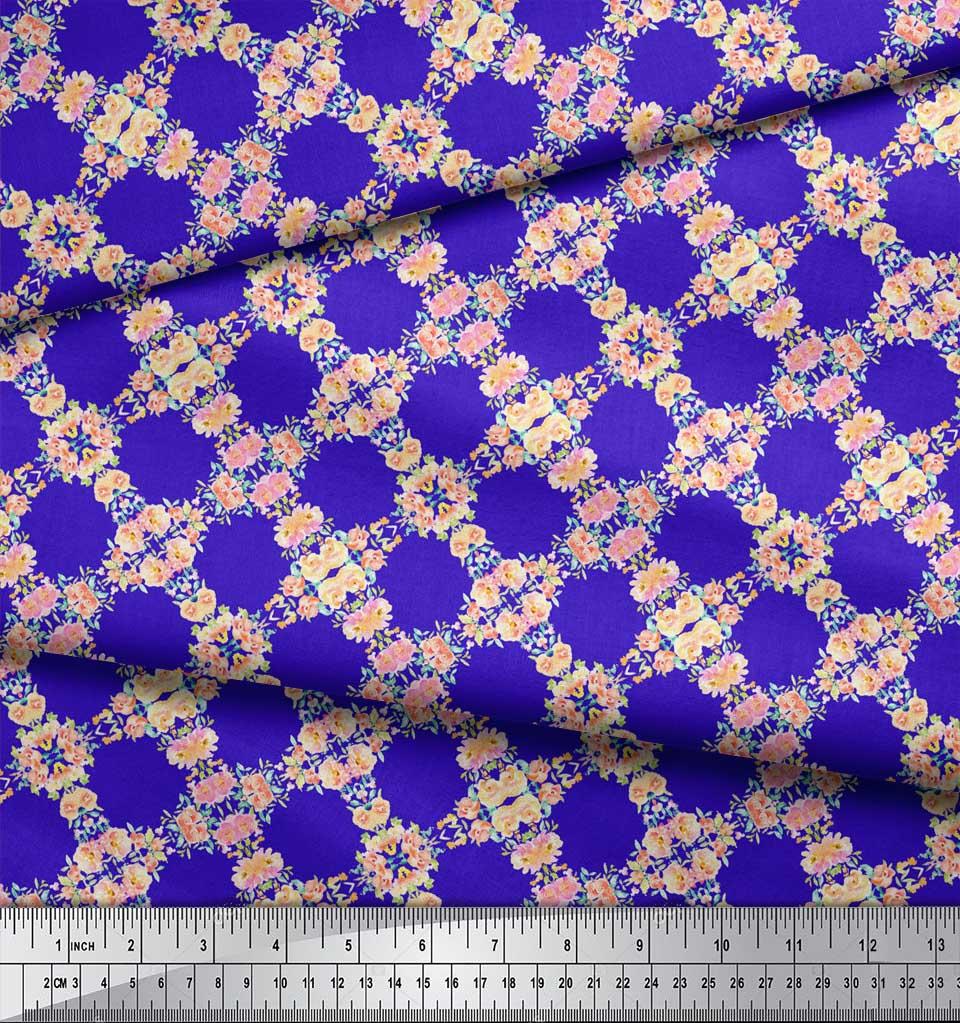 Soimoi-Blue-Cotton-Poplin-Fabric-Flower-Watercolor-Print-Fabric-EXy thumbnail 3