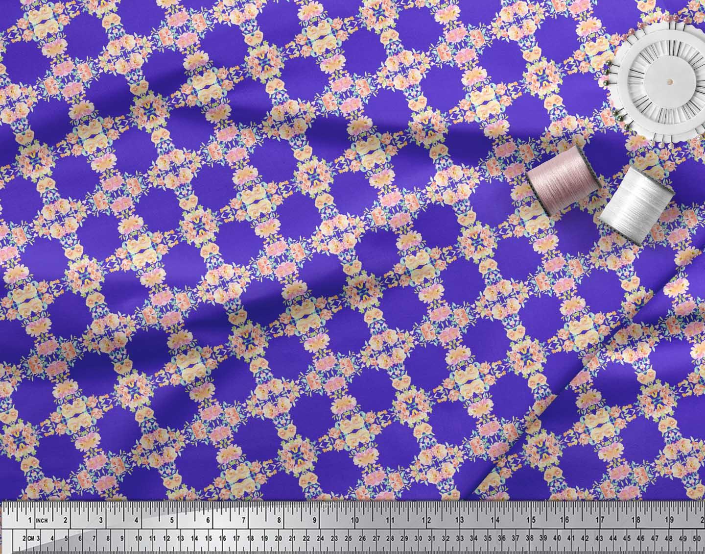Soimoi-Blue-Cotton-Poplin-Fabric-Flower-Watercolor-Print-Fabric-EXy thumbnail 4