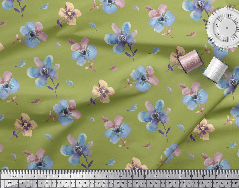 Soimoi-Green-Cotton-Poplin-Fabric-Flower-Watercolor-Printed-Craft-Dxe thumbnail 3