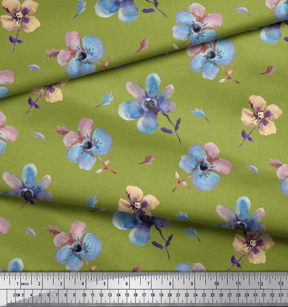 Soimoi-Green-Cotton-Poplin-Fabric-Flower-Watercolor-Printed-Craft-Dxe thumbnail 4