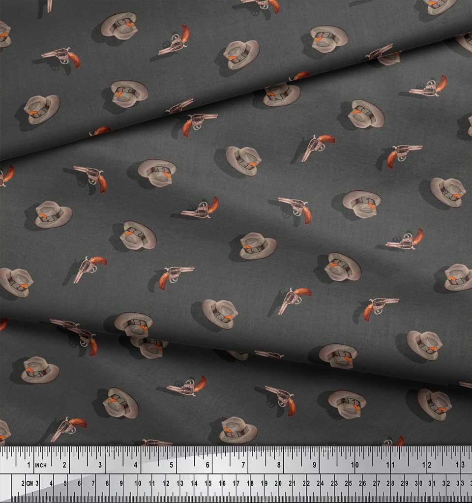 Soimoi-Gray-Cotton-Poplin-Fabric-Cowboy-Vintage-Print-Weapon-Print-wFP thumbnail 3