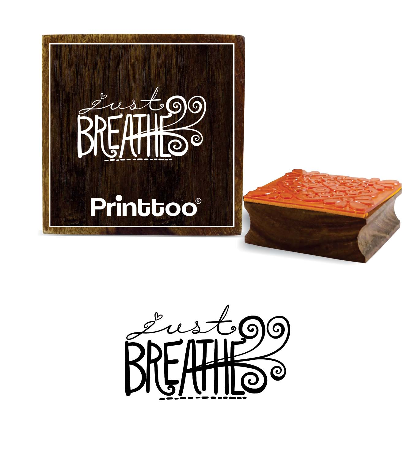 Printtoo The Mountains are Calling and I Must Go Word Design Wooden Rubber Stamp-2 x 2 Inches