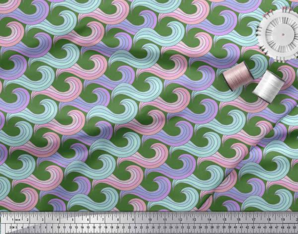 AB-575C Soimoi Fabric Artistic Waves Abstract Printed Fabric 1 Yard