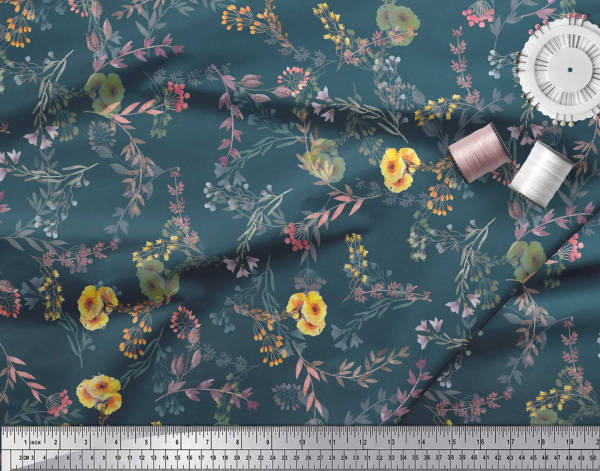 SMIN-FC-14B-42 Fabric By The Yard Blue Cotton Cambric Fabric Sewing Fabric News Paper /& Women Face Printed Fabric Home Decor Fabric